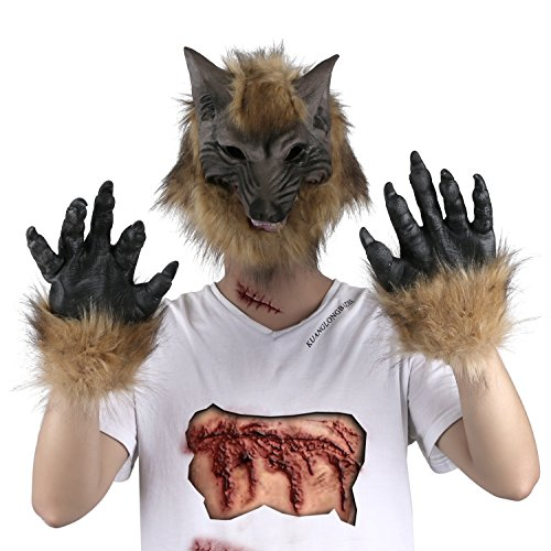 Cheap Wolfman Costume (Halloween Costume Latex Wolf Head Mask with 1 Pair Werewolf Hands Gloves for Cosplay Costume)