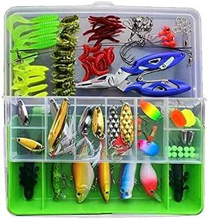 صندوق صيد الأسماك 101 في 1 مع إكسسوارات، بما في ذلك طُعم الصيد الصلبة الناعمة في المياه المالحة