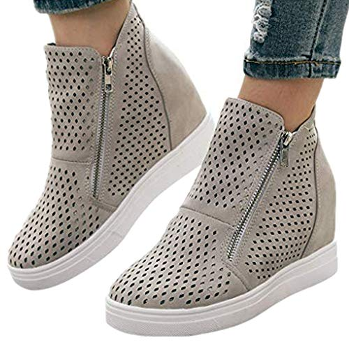 St.Dona_Shoes Women's Platform Sneakers Hidden Wedges Side Zipper Faux Suede Perforated Ankle Booties Gray