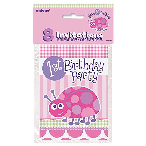 Ladybug 1st Birthday Invitations, 8ct