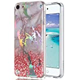 Ranyi iPod Touch 6 Case, iPod Touch 5 Case, Shiny Glitter Laser Marble Pattern Soft Clear TPU Bumper Slim Thin Flexible Shock Absorbing Rubber Case for Apple iPod Touch 5 6th Generation (Pink Sand)