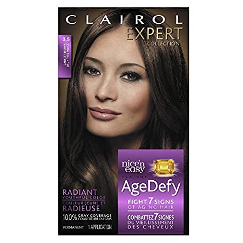 Clairol Age Defy Expert Collection, 3.5 Darkest Brown, Permanent Hair Color, 1 Kit ()