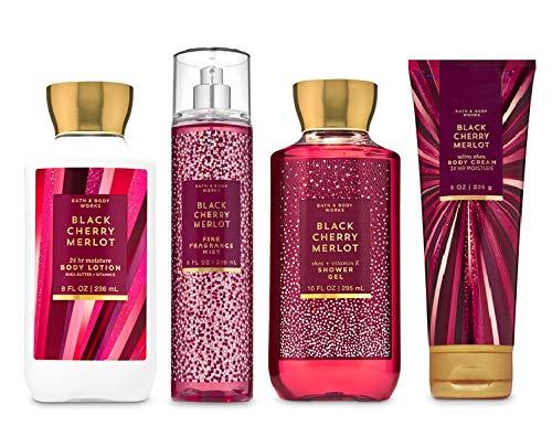 Bath and Body Works BLACK CHERRY MERLOT - Deluxe Gift Set Body Lotion - Body Cream - Fragrance Mist and Shower Gel - Full Size