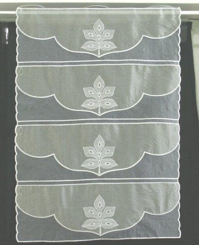 Rideau en Organza Brodé Gris 45 cm - Couper à la Longueur souhaitée ...