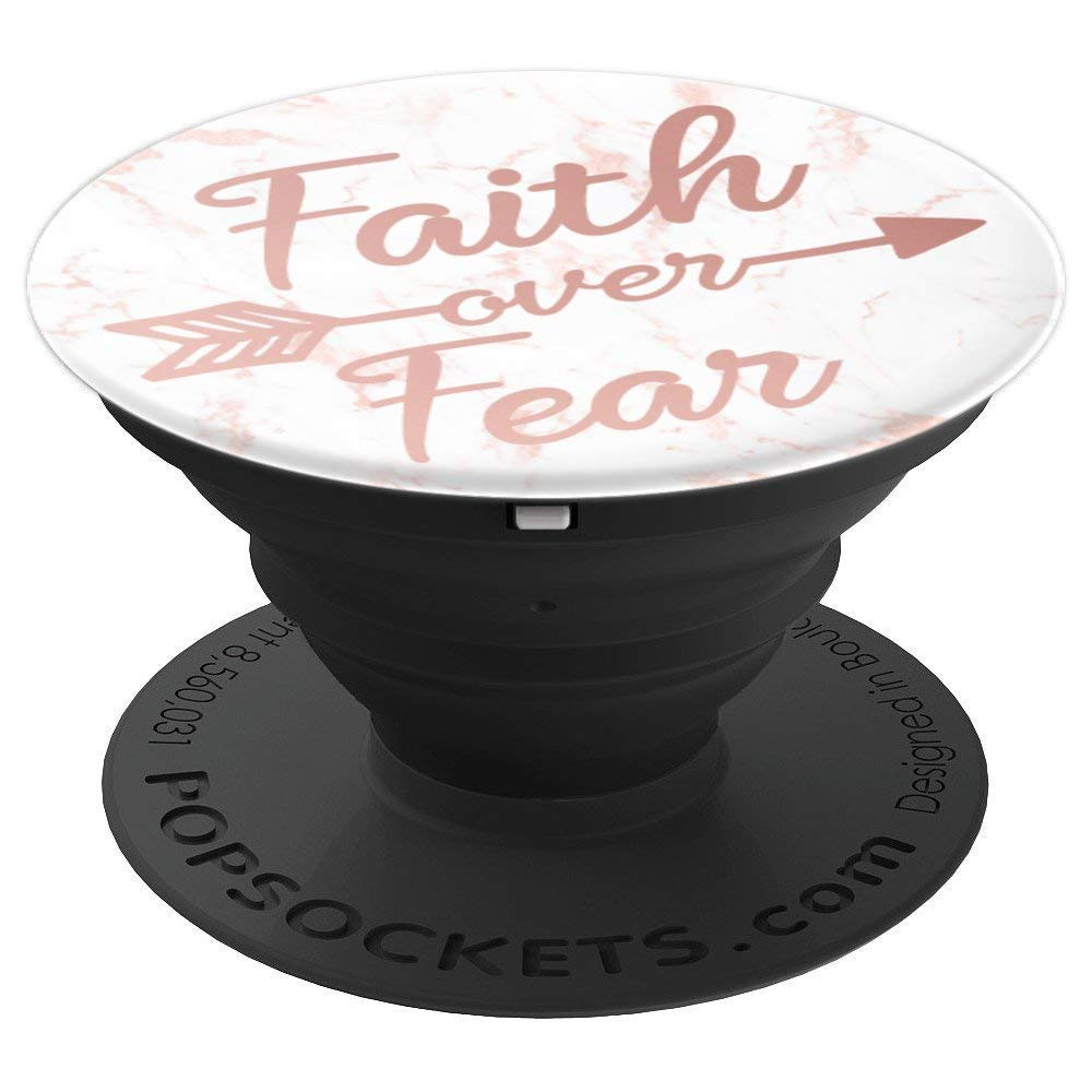 PopSockets: Faith Over Fear Bible Verse On Rose Gold Marble - PopSockets Grip and Stand for Phones and Tablets