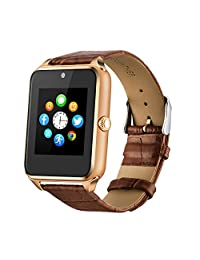Fantime Bluetooth Smart Watch Phone, Wrist Watch Phone Support SIM Card SD for Android Smart Phones(Leather Gold)