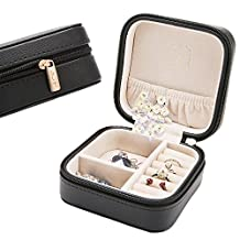 Jewelry Box LELADY Portable Travel Jewelry Organizer Faux Leather Storage Case Holder for Earrings Rings Necklaces, Gifts for Women, Mini Size, Black