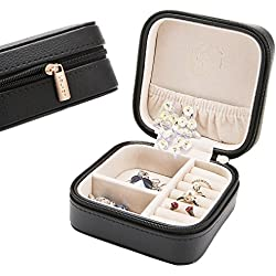 LELADY Small Jewelry Box Portable Travel Jewelry Case Organizer Faux Leather Storage Holder for Earrings Rings Necklaces, Gifts for Women Girls Mini Size (Black)
