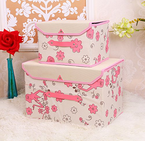 Fabric Storage Bin,Simple and Stylish,Flower Design,Pink(Set of 2) (Simple Flowers Set)