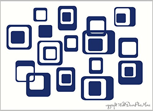 Wall Decor Plus More WDPM044 6-Inch and Smaller Funky Wall R/Squares Vinyl Sticker Decals, Deep Blue, 20-Piece