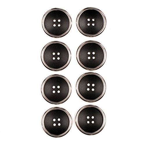Look Button (Combination (2 Piece) Button 4 Hole Leather Look With Metal Rim Black / NIkel 40 Line)