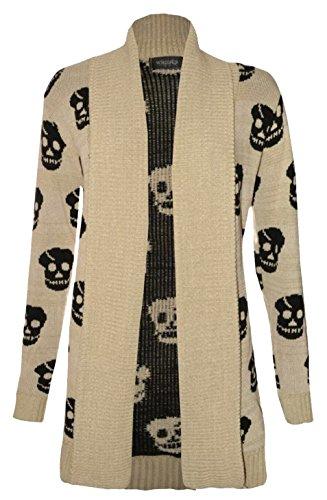 Thever Women Ladies Halloween Skull Skeleton Print Open Front Knitted Cardigan (2XL(18-20), (Skeleton Print Out Halloween)