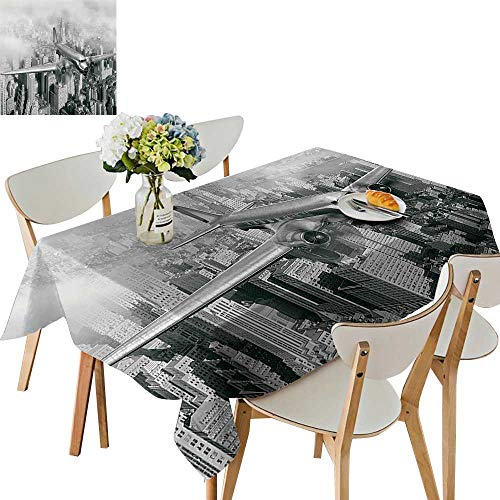UHOO2018 Square/Rectangle Polyester Cloth Fabric Cover Nostalgic Dated Plane Flying Over Skyscrapers in New York City Urban Life Events Table Top Cover,50x 50inch for $<!--$19.99-->