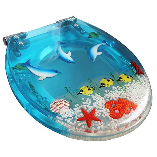 Jokeagliey Slow Close Resin Toilet Seat with Cover,3D Effects Heavy Duty Toilet Lid with Dolphin, Real Seashells and Sands for U Type Toilet,Clear (Immer Zu Schließen)