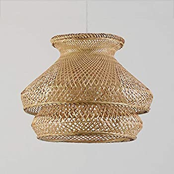 TheMonday Vintage Wicker Rattan Hanging Light Bamboo Nest Ceiling Pendant Light Fixture Handwoven Chinese Antique Rattan Chandelier Lamp Living Room Hotel Restaurant Suspension Lanterns