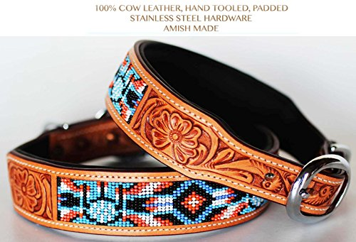 (PRORIDER Medium 17''- 21'' Rhinestone Dog Puppy Collar Crystal Cow Leather Western)