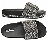 Forever Link Viste-07 Rhinestone Glitter Slide Slip On Flatform Footbed Sandal Slippers (8.5, Black-07)