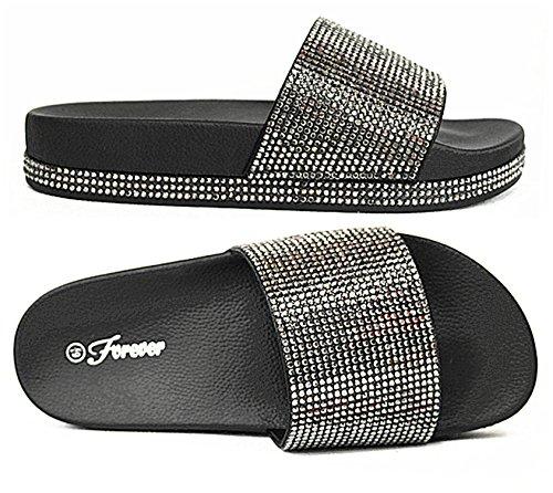 Forever Link Viste-07 Rhinestone Glitter Slide Slip On Flatform Footbed Sandal Slippers (8, ()