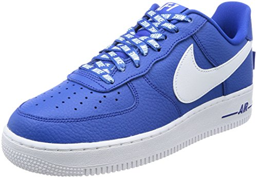 Nike Men's Air Force 1 '07 Lv8 Gymnastics Shoes, Bianco Blue (Game Royalwhite)