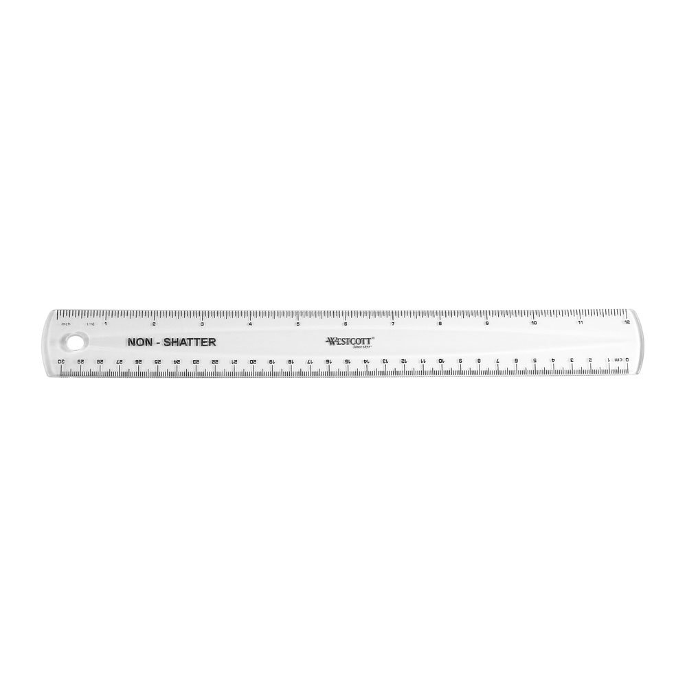 """Westcott 12"""" Non-Shatter Ruler, Clear, Case of 72"""