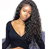 Wild-lOVE 13x6 Deep Part Pre Plucked Curly Lace Front Human Hair Wigs With Baby Hair For Women Indian Non Hair 130% Density,Natural Color,16inches