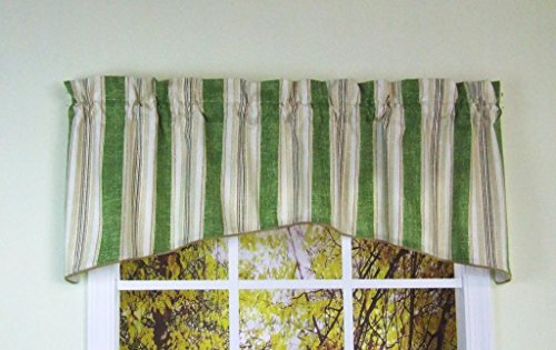 - Classy Green and Ivory Stripe with Gold Cording Arched Valance