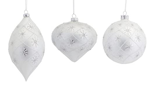 Winter White & Silver Snowflake Glass Christmas Ornaments