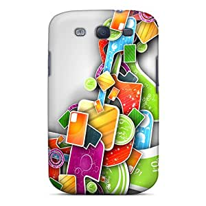 Tpu Michaelphones99 Shockproof Scratcheproof Abstract Colors Hard Cases Covers For Galaxy S3