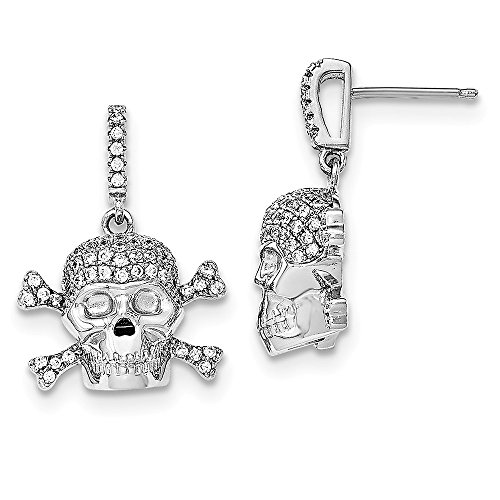 (Solid .925 Sterling Silver Rhodium-plated & CZ Cubic Zirconia Cubic Zirconia AAA+ Quality Skull Dangle Post Earrings 26x19mm)