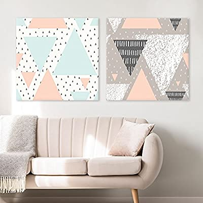 2 Panel Square Canvas Wall Art - Fresh Color Geometry Patterns Patterns - Giclee Print Gallery Wrap Modern Home Art Ready to Hang - 16