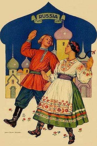 Russian dancers in a folk costume Poster