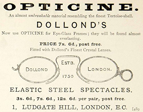 1885 Ad Dollonds Opticine Eyeglasses Spectacles Frame London Victorian Era YNM4 - Original Print - Spectacles Victorian