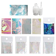 Elisona-Portable Home Outdoor Nail Sheet Art Foil Paper Transfer Set Nail Tip DIY Decoration Glue Set with Professional Glue for Women Lady Girls Gift