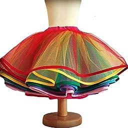 Sweetdress Flower Girl Crinoline Petticoat Multi-layer Rainbow Skirt (Small, Rainbow)