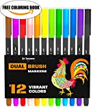 Best-Dual-Tip-Brush-Pen-Set-Free-Coloring-Book-12-Colors-For-Coloring-Art-Sketching-Calligraphy-Manga-Bullet-Journal-Lettering