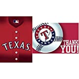 """Sports and Tailgating MLB Party Texas Rangers Invitation & Thank You Card Set, Paper, 3"""" x 5"""", Pack of 16"""