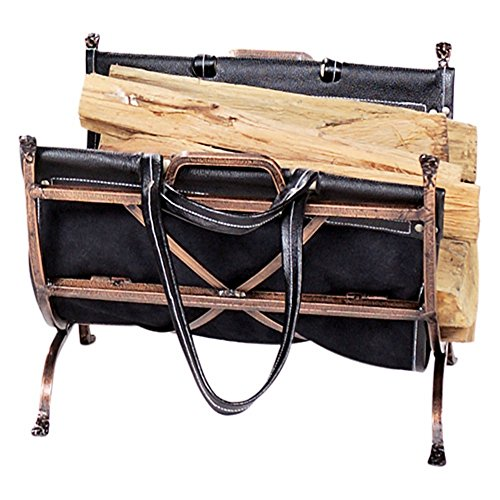 UniFlame Antique Copper Wrought Iron Log Holder with Black Leather Carrier by Uniflame