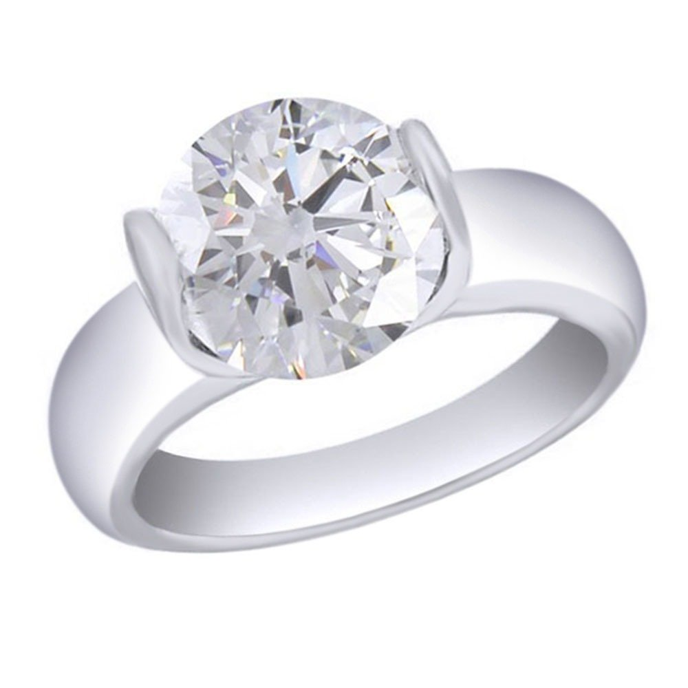 Jewel Zone US 1.50 Carat Round Cut Moissanite Solitaire Ring In 14K White Gold Over Sterling Silver