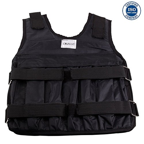 Cirocco 44Lbs 20 KG Adjustable Weight Vest Workout Training Fitness for Men Women Gym Exercise Boxing Black | Agile Safe Comfortable Add Resistance for Physical Weight Losing Military Runner Sports by Cirocco