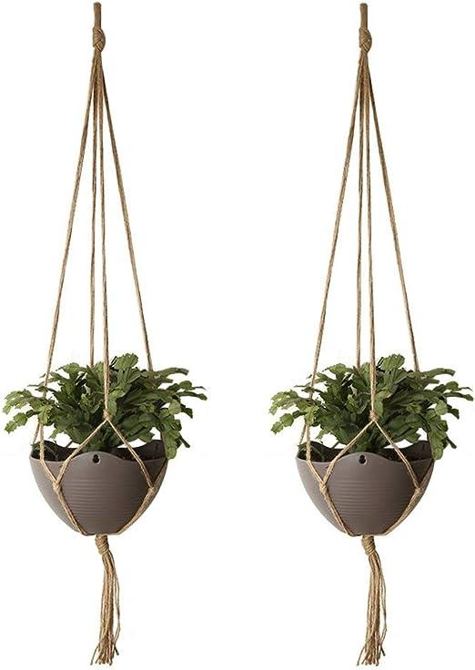 HEOCAKR Colgante de Plantas, 2 Pcs Colgador para Plantas para Macetas de Interior y Exterior, Hecho a Mano, Cuerda de Cáñamo, para Jardín Decoración de Pared En Casa: Amazon.es: Jardín