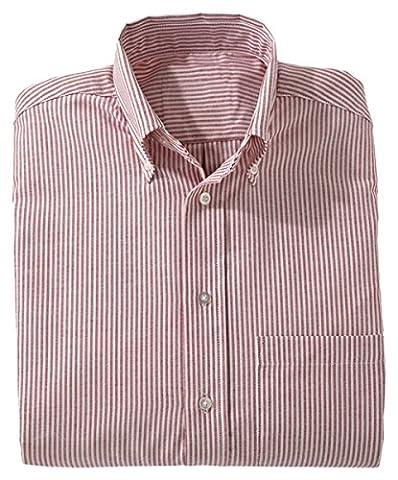 Ed Garments Women's Easy Care Long Sleeve Oxford Shirt, BURGUNDY STRIPE, Medium - Edwards Button Down Oxford Shirt