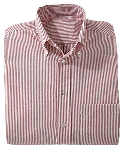 Ed Garments Women's Easy Care Long Sleeve Oxford Shirt, BURGUNDY STRIPE, (Button Cuff Oxford Shirt)