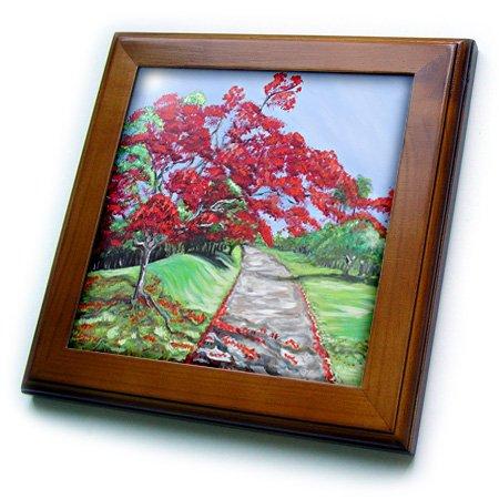 (3dRose Melissa A. Torres Puerto Rican Art - Flamboyan Tree Near Dirt Road - 8x8 Framed Tile (ft_195412_1))