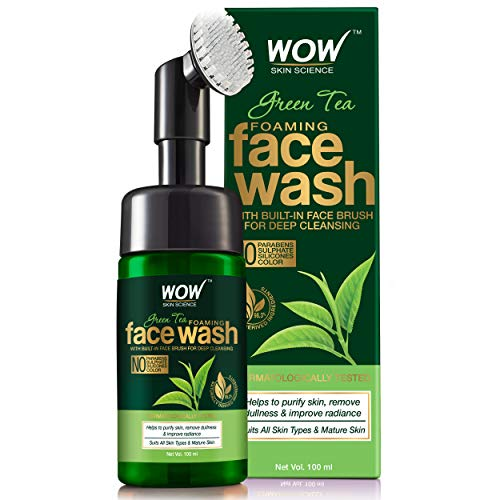 WOW Skin Science Green Tea Foaming Face Wash with Built-In Face Brush with Green Tea & Aloe Vera Extract, 100 ml