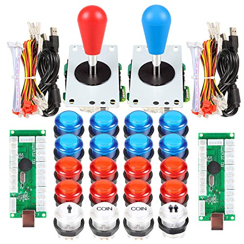 EG STARTS 2 Player Arcade Games DIY Kit Parts 2 Ellipse Oval Joystick Handles + 20 LED lit Arcade Buttons (Red & Blue Kit)