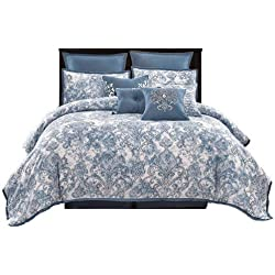 "Wonder-Home 10-pc. Luxury Watercolor Comforter Set, Oversized Printed Microfiber Blue Bed Comforter Overfilled with Plush Polyester, Super Soft, Medium Weight, Queen, 92""x96"""