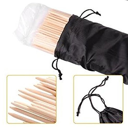 Long Marshmallow Roasting Bamboo Sticks | Campfire Skewers - 110 pcs. 36 inch Long, 5mm Thick Wooden Skewers, inc. Cloth Bag for Easy Storage -