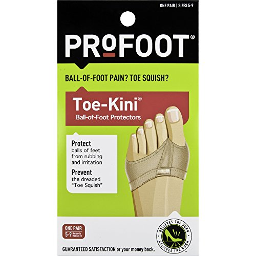 PROFOOT, Toe-Kini Ball-of-Foot Protectors, Womens 5-9, 1 Pair, Pads Metatarsal and Separates Toes for Greater Comfort When Walking, Great for High Heels, Relief from Burning Pain in the Forefoot