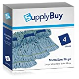 SupplyBuy Large Microfiber Tube Mops | Industrial Wet Mops with Canvas Headbands | Pack of 4