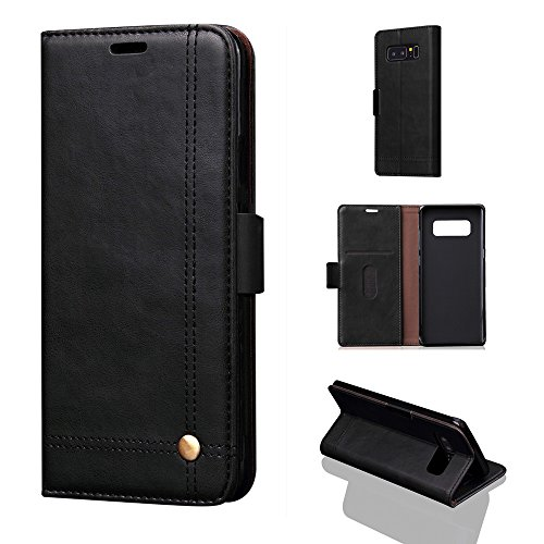 Price comparison product image For Samsung Galaxy Note 8 Stand Wallet Card Case Cover,Elaco Luxury Flip Leather Wallet Case Skin Cover (Black#1, Samsung Galaxy Note 8)